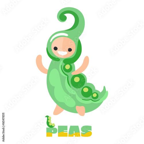 Aluminium Prints Creatures Cute (kawaii) vegetable - Green peas. Doodle style. Kids illustration. 100% Organic food