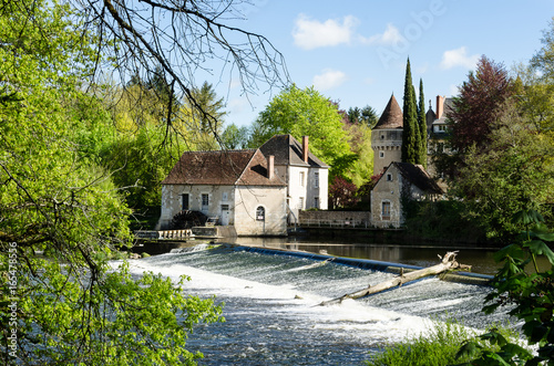 Photo Watermill of the abbey of Notre-Dame de Fontgombault, La Brenne (Indre), France