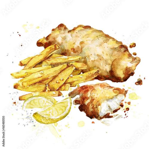 Recess Fitting Watercolor Illustrations Fish and chips. Watercolor Illustration.