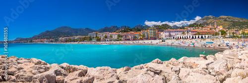 Fotobehang Mediterraans Europa Menton city with coastline promenade, Mediterranean Coast, French riviera