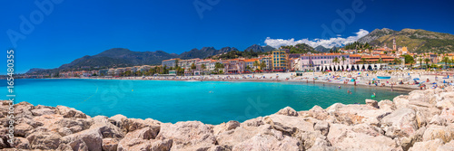 Foto auf Gartenposter Südeuropa Menton city with coastline promenade, Mediterranean Coast, French riviera