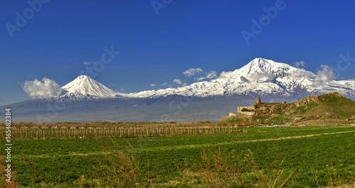 Khor Virap with Mount Ararat in background Wallpaper Mural