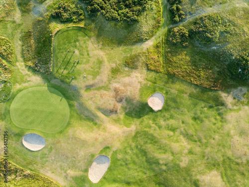 View from above sand bunker golf sunset Aberdeen Scotland UK Canvas Print