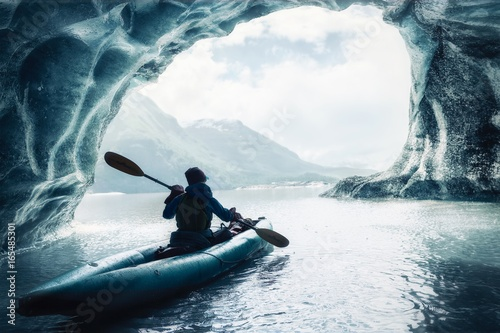 Kayaking among Alaskan Glaciers Canvas Print