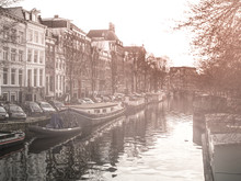 Morning Haze At Water Canal, Gracht, In Amsterdam, Netherlands