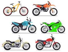 Bike And Motorbike Flat Vector...
