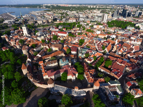 Photo  Top view at the area of best preserved medieval town of Tallinn city