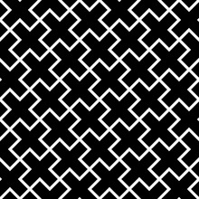 Abstract Seamless Pattern Background. Mosaic Of Black Geometric Crosses With White Outline. Vector Illustration.