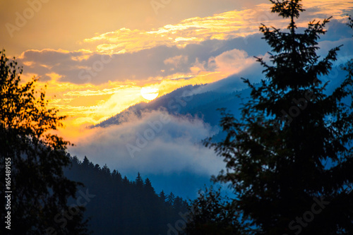 Wall Murals Northern Europe sunset in the mountains