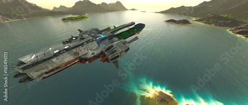 korweta-kosmiczna-patrolujaca-powierzchnie-rajskiej-planety