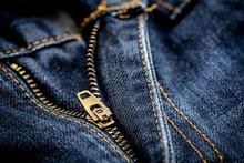 Macro Shot Of A Zipper From Bl...