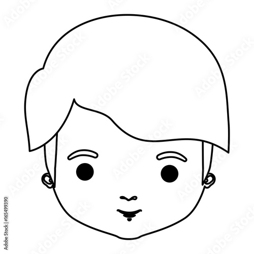 In de dag Cartoon draw silhouette closeup front view man with mushroom haircut vector illustration