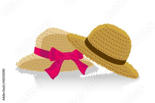夏のイメージのイラストペアの麦わら帽子 Buy This Stock Vector And