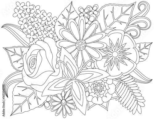 Floral doodle coloring page. Fototapete