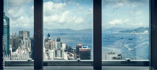 Obrazy na płótnie Canvas window view of city skyline,shot in Hong Kong,China.