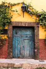 Old Vintage Blue Door Cobblest...
