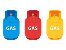 Propane Gas Cylinder Bottle Vector Icon Set