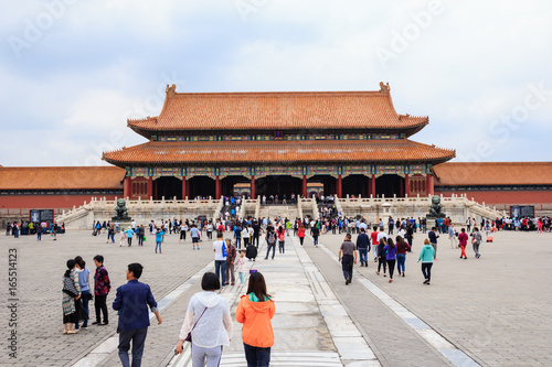 Photo Stands Huge Hall in The Forbidden City in Beijing, China
