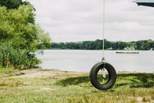 Old Tire Swing Hanged On A Tre...