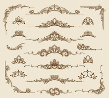 Royal Victorian Filigree Design Elements. Vector Retro Queen Flourish Swirls And Antique Calligraphy Borders