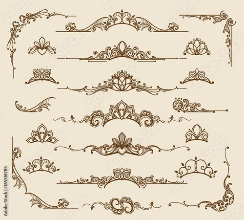 Obraz Royal victorian filigree design elements. Vector retro queen flourish swirls and antique calligraphy borders - fototapety do salonu