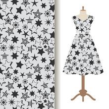 Womens Dress Fabric Pattern With Stars