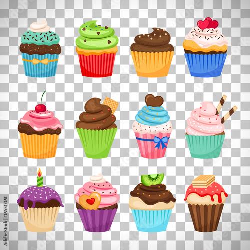 Photo  Delicious cupcakes set on transparent background