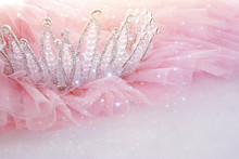 Vintage Tulle Pink Chiffon Dress And Diamond Tiara On Wooden White Table. Wedding And Girl's Party Concept