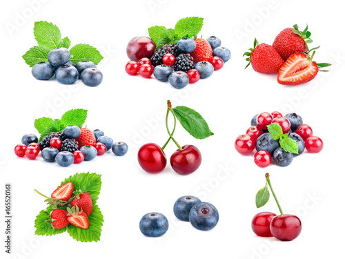 Fotografija  Berry theme mix composed of different images.