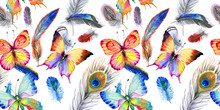Watercolor Bird Feather Pattern From Wing. Aquarelle Wild Flower For Background, Texture, Wrapper Pattern, Frame Or Border.