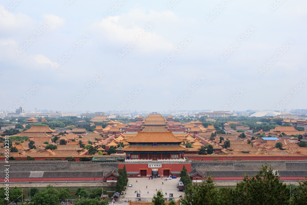View on the whole forbidden city in Beijing, China