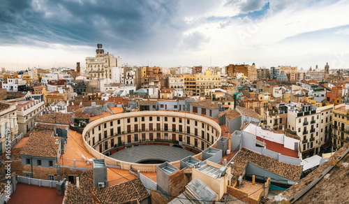 Fotografie, Obraz  Aerial panoramic view of the old town in Valencia from Santa Caterina tower, Spa