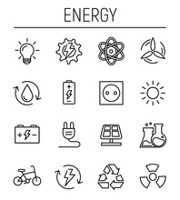 Set Of Energy Icons In Modern Thin Line Style.