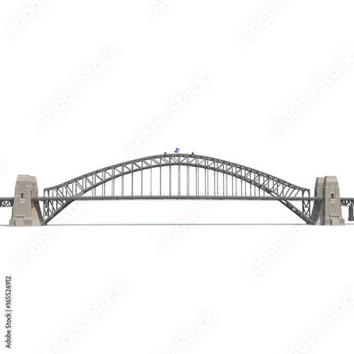 Foto op Aluminium Brug Sydney Harbour Bridge on white. Side view. 3D illustration