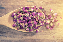 Rose Tea On Wooden Table