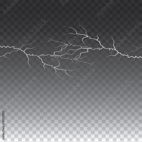 lightening and thunder bolt or electric, glow and sparkle effect on transparent Canvas-taulu