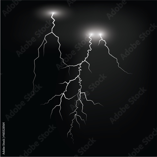 lightening and thunder bolt or electric, glow and sparkle effect on background Canvas-taulu