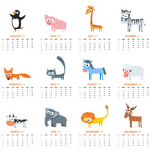 Monthly Calendar 2018 With Cute Animals