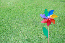 Colorful Pinwheel On The Green Grass.
