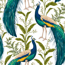 Seamless Pattern With Peacock,...