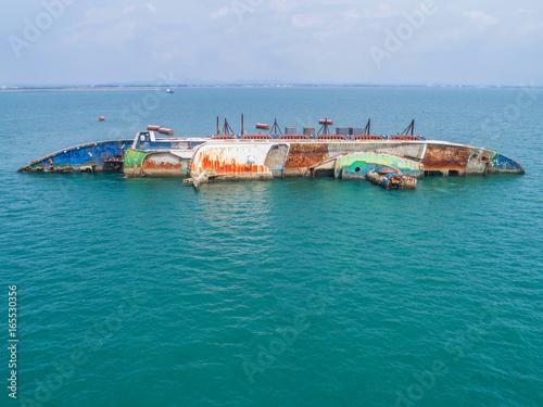 Garden Poster Shipwreck Boat crashes in the sea, cruise ship ,accident ,Shipwreck