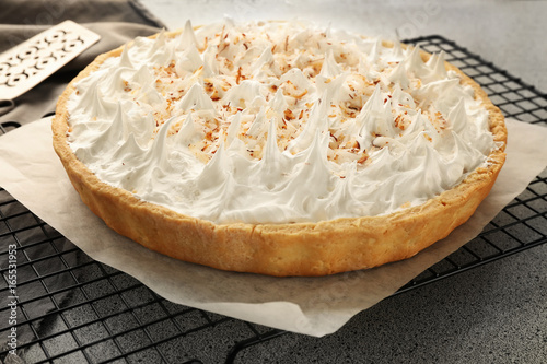 Fotografia, Obraz Grid with delicious coconut cream pie on grey table