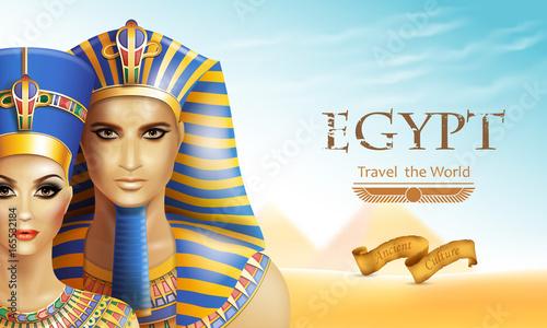 Obraz na płótnie Background with queen Nefertiti and pharaoh Tutankhamen.