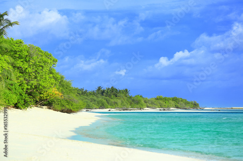 Photo Stands Turquoise View of beautiful beach at tropical resort