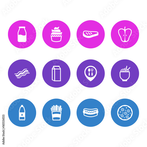 Photo  Vector Illustration Of 12 Food Icons