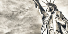 Upward Side View Of Statue Of Liberty, NYC
