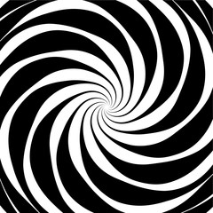 Original hypnotic spiral in the square. Decorative design background for vector background. Black and white