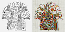 Embroidery Pattern. Hand Stitched Embroidered Baobab Tree. African Tree. Ethnic Wall Art Embroidery Home Decor. Linen Cloth Texture. Vector.