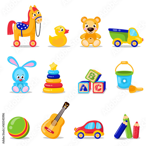 Obraz Toys set isolated on white background. Including horse, teddy bear, ball, cubes toys . Vector illustration preschool activity children toys set isolated on white background - fototapety do salonu