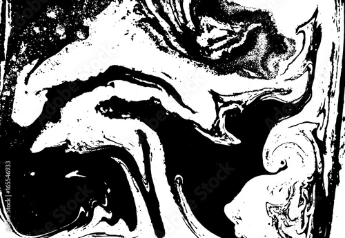 Spoed Foto op Canvas Neushoorn Black and white liquid texture. Watercolor hand drawn marbling illustration. Abstract vector background. Monochrome marble pattern.